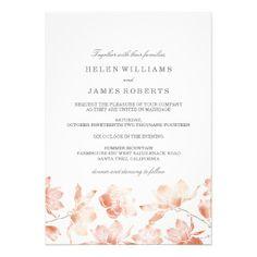 Peach Magnolia Flower Wedding Invitation