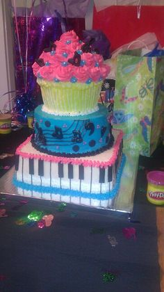 Music theme Sweet 16 birthday cakes by ~Nikki Cakes~