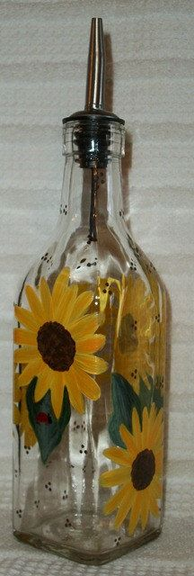 Olive Oil Decorative Bottles Custom Order Hand Painted Glass Bottles Olive Oil Dispensers Pink