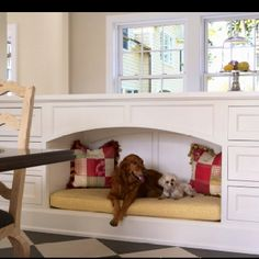 Built-in dog beds!