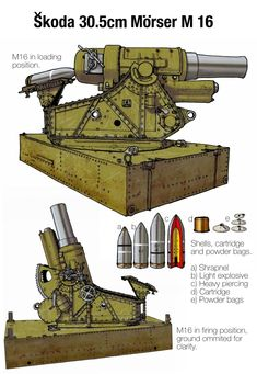 Skoda Heavy Artillery -Plate 4 by wingsofwrath on DeviantArt Ww1 Art, Ww2 Tanks, Big Guns, Military Weapons, World War One, Panzer, Armored Vehicles, War Machine, Dieselpunk