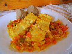 Bacalao encebollado estilo canario Spanakopita, Canario, Seafood, Tacos, Healthy Recipes, Healthy Food, Mexican, Chicken, Meat
