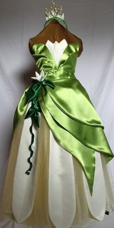 Custom Princess Tiana costume dress CHILD 3-12 - Halloween or Disney Vacation. $250.00, via Etsy.