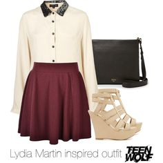 Lydia Martin inspired outfit/Teen Wolf by tvdsarahmichele on Polyvore featuring Sister Jane, Ally Fashion, 2b bebe, FOSSIL, TeenWolf, LydiaMartin and HollandRoden