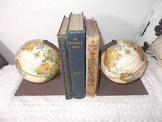 World Globe Book Ends, Book Ends, Office Decor, Vintage Home Decor, World Globes, Men Cave, Library  :)s* by Daysgonebytreasures on Etsy