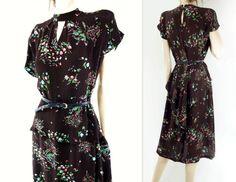 40s Dress 1940s Dress Vintage Floral Dress 40s by StarletVintage
