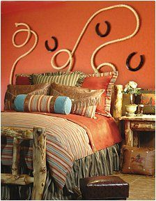 Wild West Bedroom - decorate girls bedroom, cowgirl bedroom decorating ideas-- If we went with orange and turquoise instead of pink.I like the rope and horse shoes on the wall. Check out the website to see Bedroom Furniture Design, Girl Bedroom Designs, Modern Bedroom Design, Girls Bedroom, Log Furniture, Trendy Bedroom, Dream Bedroom, Bedroom Wall, Cowgirl Theme Bedrooms