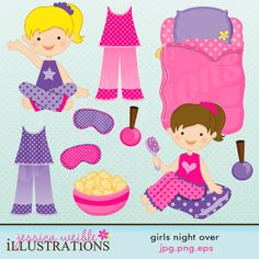 Girls Night Over Cute Digital Clipart - Commercial Use Ok - Slumber Party Clipart - Slumber Party Graphics Sleepover Party, Pajama Party, Spa Party, Slumber Parties, Birthday Parties, Happy Birthday, Bunny Slippers, Christmas Tree Pattern, Digital Stamps