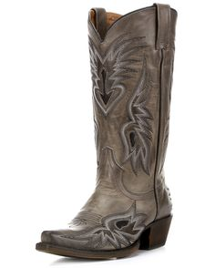 <div>In Eight Second Angel's Charlotte Boot, tricolor feather stitching encircles black inlays. Soft gray leather has the right amount of glow, and the silhouette is attractive thanks to the snip toe.</div><div><br></div><div>Daring handcrafted style is Eight Second Angel's specialty. Every Eight Second Angel design comes from a deep love for country roots. Hold on tight and ride the bull called Life.</div><p>Eight Second Angel boots are handmade by skilled leather craftsmen. Stitching ...