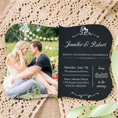 trending bracket rustic chalkboard wedding invitations with photos EWIb309 as low as $1.14 |