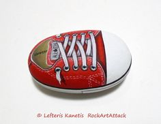 Red All Star Converse Shoe Painted On A Small от RockArtAttack