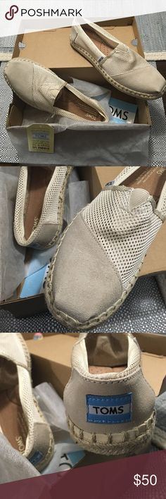 Toms classic natural mesh slip ons Brand new in box.  Suede upper toe and back of heel as pictured. Remainder of show is mesh. Super cute! TOMS Shoes Flats & Loafers