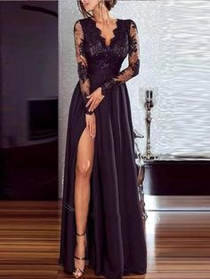 This evening dress features lace with pure colour and high slit, perfect for elegant women to wear at a formal occasion. Evening Dresses For Weddings, Lace Evening Dresses, Day Dresses, Dresses Online, Dress Outfits, Fashion Dresses, Pretty Prom Dresses, Elegant Dresses, Prom Dress Shopping