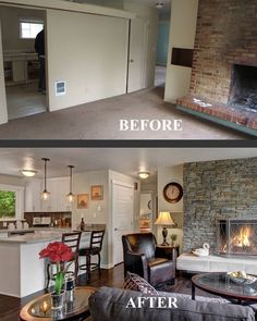 Before and after family room transformation! Choppy floor plan no more! Divider wall was not load bearing and removed to create a wide open great-room concept. Credit: Enfort Properties, Seattle House Flips.