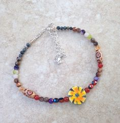 Sunflower Painted Gemstone Beaded Necklace by ZhiJewelry on Etsy
