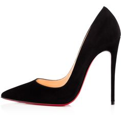 Christian Louboutin So Kate (5 770 SEK) ❤ liked on Polyvore featuring shoes, pumps, louboutin, black high heel shoes, sexy pumps, suede pointed toe pumps, stiletto pumps and black suede pumps