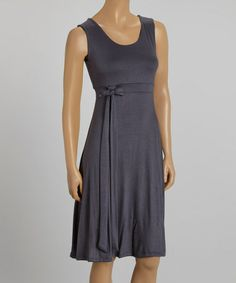 Another great find on #zulily! Gray Tie-Waist Sleeveless Dress #zulilyfinds