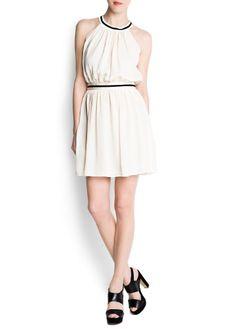 Mango Womens Halter-Neck Sheer Dress, Neutral, Xs