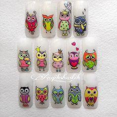 Идеи дизайна ногтей - фото,видео,уроки,маникюр! Owl Nail Art, Owl Nails, Minion Nails, Funky Nail Art, Crazy Nail Art, Animal Nail Art, Baby Nails, Funky Nails, Owl Nail Designs