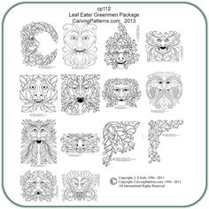 Leaf Eaters & Greenmen Wood Carving Patterns by L S Irish- Classic Carving Patterns