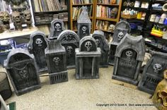 Amazing - how to make tombstones from cardboard, foam and paper maiche. Full instructions on how to do.