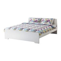 IKEA - ASKVOLL, Bed frame, Queen, Luröy, , Adjustable bed sides allow you to use mattresses of different thicknesses.17 slats of layer-glued birch adjust to your body weight and increase the suppleness of the mattress.