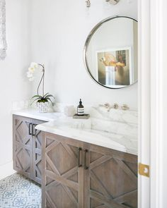 I am in the same boat with everyone else about using wood cabinets again in a home. But not your golden pine cabinets, more like this by - This entire bathroom is AMAZING! Just sharing a little happiness on this dreary day. Bathroom Vanity Designs, Modern Bathroom, Small Bathroom, Bathroom Vanities, Bathroom Ideas, Master Bathrooms, Bathroom Colors, Funky Bathroom, Silver Bathroom