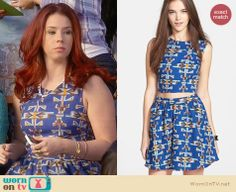 Tamara's blue printed top and skirt on Awkward.  Outfit Details: http://wornontv.net/30782/ #Awkward