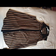 Striped sheer top Tan and black, longer length top Forever 21 Tops Blouses
