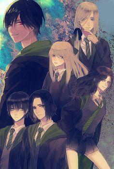 Tom Riddle, Lucius Malfoy, Narcissa Malfoy, Bellatrix Lestrange, Regulus Black, Severus Snape