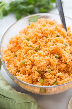 The BEST, truly authentic Mexican rice! Super easy to make from home, and a necessary side dish for all of your favorite Mexican recipes. During college my husband and I spent a semester in Puebla, Me (Mexican Recipes For Dinner) Authentic Mexican Recipes, Mexican Rice Recipes, Mexican Desserts, Vegetarian Mexican, Easy Mexican Rice, Mexican Potluck, Easy Mexican Dishes, Mexican Night, Mexican Food Recipes