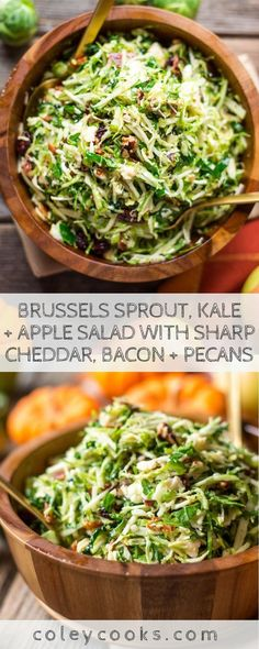 Personalized Graduation Gifts - Ideas To Pick Low Cost Graduation Offers Brussels Sprout, Kale Apple Salad With Sharp Cheddar, Bacon Pecans Easy, Flavorful And Healthy Fall Salad Perfect For Thanksgiving. Healthy Thanksgiving Recipes, Healthy Recipes, Thanksgiving Table, Italian Thanksgiving, Meat Recipes, Vegetarian Recipes, Thanksgiving Treats, Kale Apple Salad, Gourmet