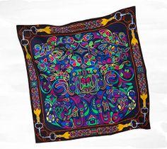 Hermès Folklore d'Henri d'Origny silk twill giant plume scarf