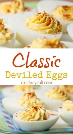 Everyone will beg you to bring these to every gathering! This easy classic deviled eggs recipe uses real mayonnaise and one special secret ingredient sprinkled on top will make these disappear as fast as you can bring them out. | pinchmysalt.com
