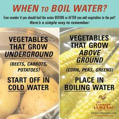 Cooking Veggies: cold water (grow underground) vs. boiling water (grow above ground)