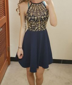 Unique round neck rhinestones short prom dress, cute homecoming dress