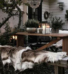 Outdoor area for the holidays with a warm and cozy feeling.