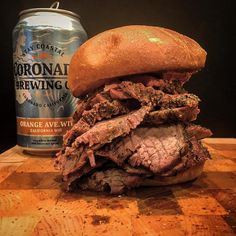 Did you cats really think I was going to let you go to sleep without me showing off my Tri Tip Sandwich? Nope. Exactly. Smoked Tri Tip on a Toasted Buttered Bun. Meat and Bun. Period. Got a @coronadobrewing #orangeavenuewit on the assist.  Reposted Via @utetastic