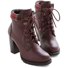 ModCloth Street Style Fashion Show Bootie ($60) via Polyvore featuring shoes, boots, ankle booties, red, short boots, red lace up boots, plaid boots, lace up booties and lace-up ankle booties