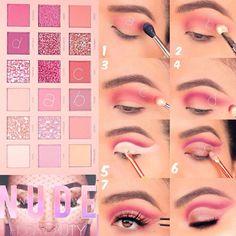 Eye Makeup Steps, Makeup Eye Looks, Smokey Eye Makeup, Eyeshadow Makeup, Makeup Tips, Free Makeup, Makeup Brushes, Smokey Eyeshadow, Pink Eyeshadow