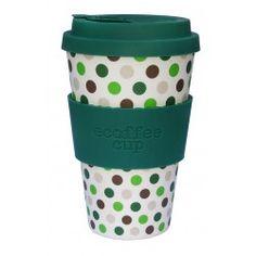 Ecoffee Cup To go Becher Bambus grüne Punkte #ecoffeecup #bambusbecher #bambustogo #bamboocup #gingerundjune