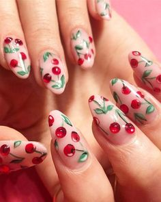 30 Popular Cherry Nail Art for Long Nails for 2018. See here some of the stunning ideas of cherry nail arts and designs to make your hands look elegant and cute. Colorful cherry nail arts and designs are really awesome options for ladies to make them look more cute and sexy in 2018.
