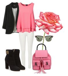 """""""Rose."""" by sejla-imamovic ❤ liked on Polyvore featuring Universal Lighting and Decor, River Island, VILA, Salvatore Ferragamo, Ray-Ban, Pink, beautiful, flower and colors"""