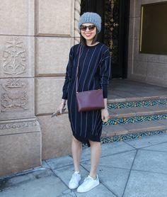 stella mccartney striped sweater dress with tzipporah beanie, burgundy celine trio bag and adidas stan smiths