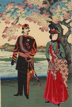 Chikanobu Toyohara, The Meiji Ladies visit with the Emperor, 1880s