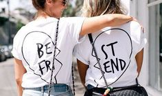 Best friend back print T-Shirt set one for you & your best friend best mates Set besties mates gift teen womans mans clothing