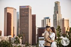 Downtown Los Angeles Engagement with a great view of the city skyline in Vista Hermosa National Park | Rozette + Ervin | Fashion Disneyland OC | Orange County Wedding Photographer