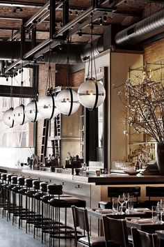 Image result for bar gantry and pendants Restaurant Design, Deco Restaurant, Luxury Restaurant, Open Kitchen Restaurant, Bakery Kitchen, Restaurant Lighting, Café Bar, Bar Lounge, Commercial Design