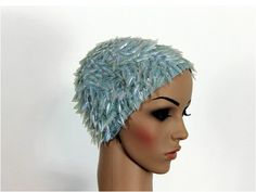 Vintage 1950s Hat Plastic Disc Blue by ByMidnightSparkle on Etsy, $60.00
