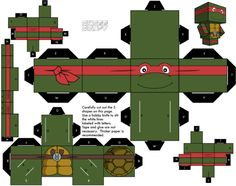Blog Paper Toy papertoys Cubeecraft Tortues Ninja Raphael Papertoys Tortues Ninja (x 5)